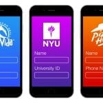 phones with login screens for Costa Vida, NYU, and Pizza Hut
