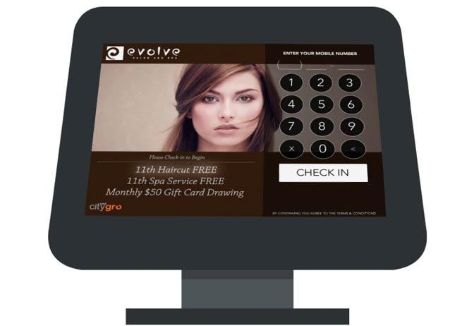 CityGro's digital loyalty kiosk for salons.