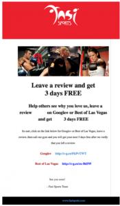 Review welcome message