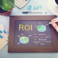 Marketing ROI image with data on chalkboard