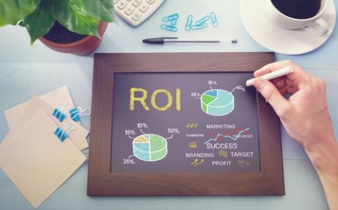 Marketing ROI image with data on chalkboard