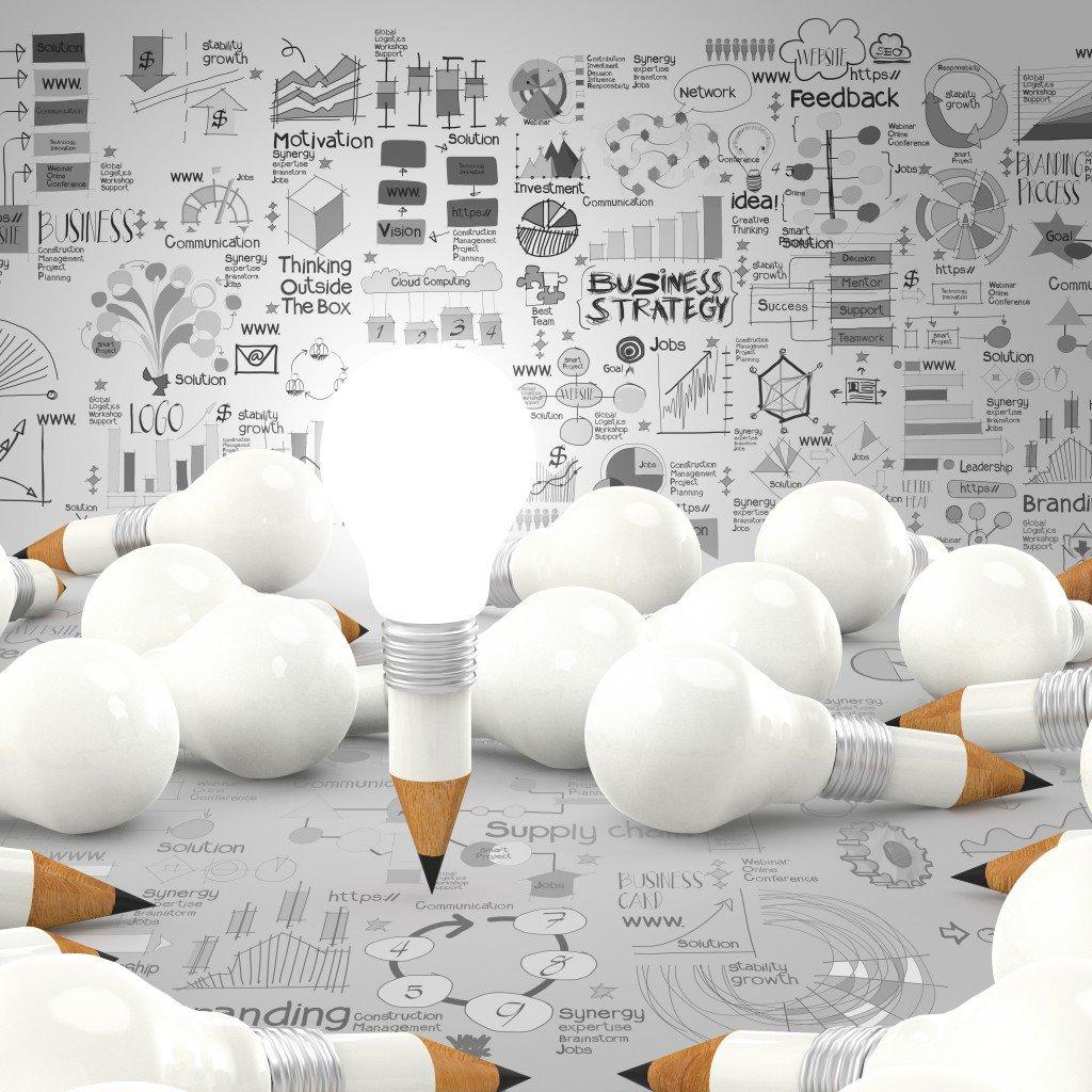 lightbulb-pencil lit with ideas