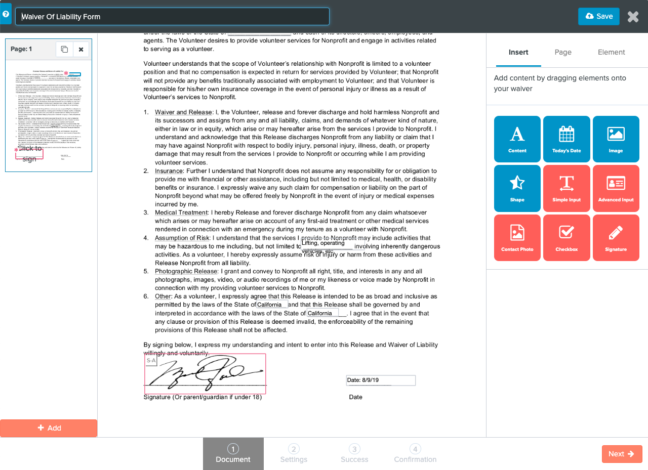 CityGro's online waiver building tools allow for simple document management, editing and optimization.